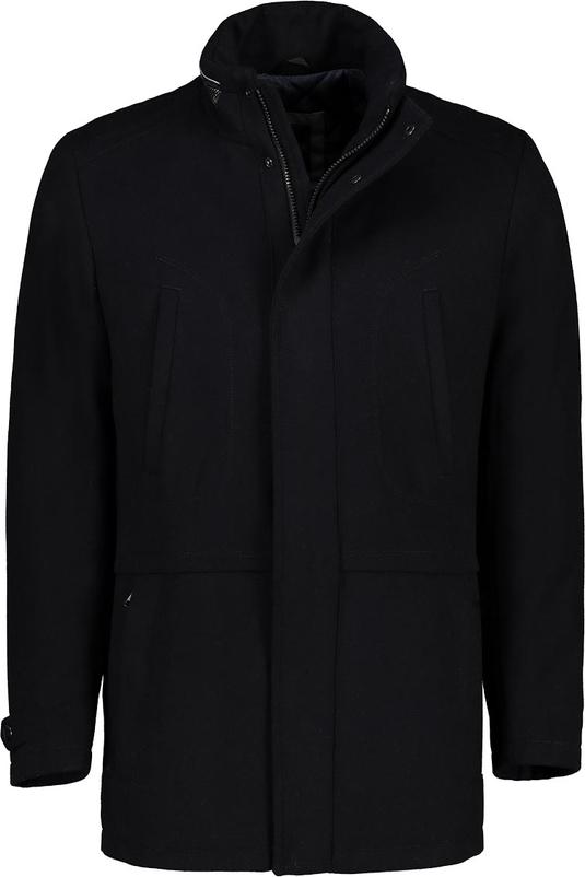 Czarny płaszcz męski Lavard z wełny