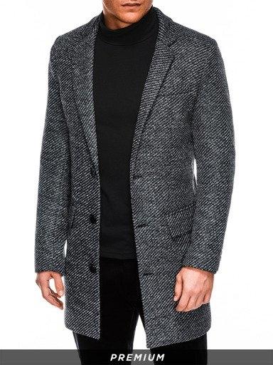 Czarny płaszcz męski Ombre w stylu casual