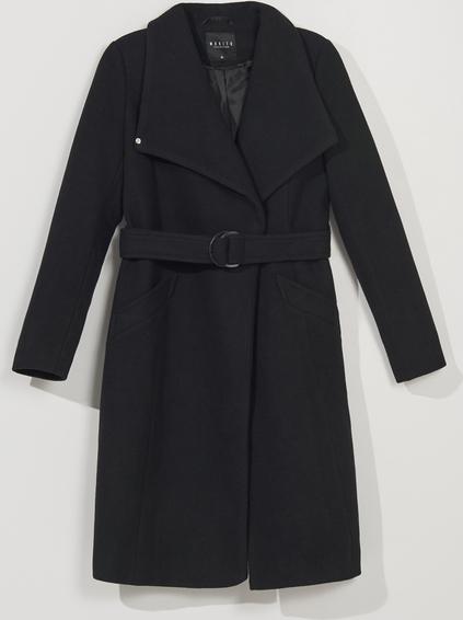 Czarny płaszcz Mohito w stylu casual z wełny