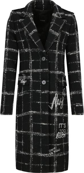 Czarny płaszcz Pinko z wełny