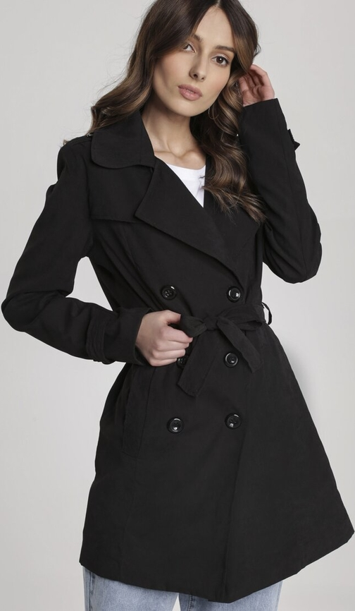 Czarny płaszcz Renee w stylu casual
