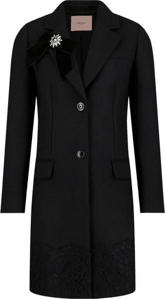 Czarny płaszcz Twinset z wełny