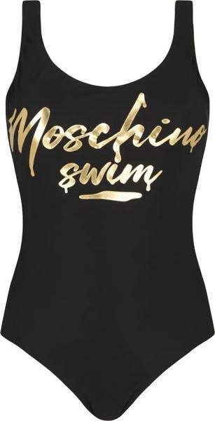 Czarny strój kąpielowy Moschino z nadrukiem w stylu casual