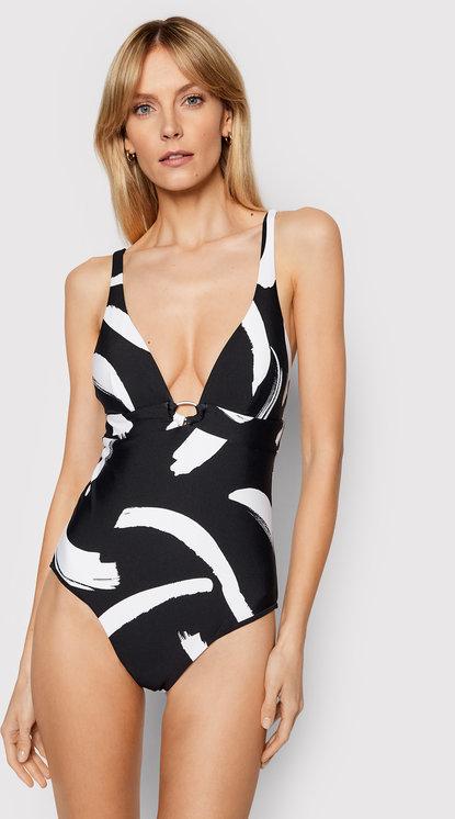 Czarny strój kąpielowy Seafolly z nadrukiem w stylu casual