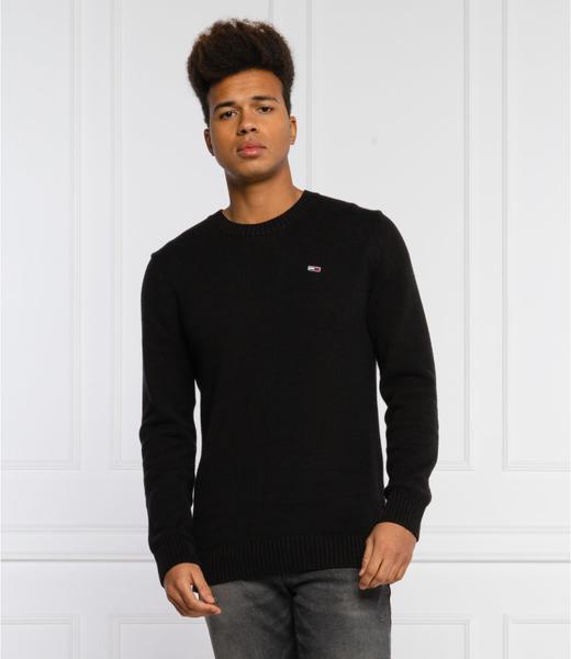 Czarny sweter Tommy Jeans z okrągłym dekoltem z wełny