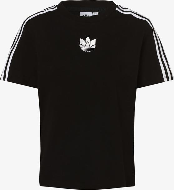 Czarny t-shirt Adidas Originals w sportowym stylu z okrągłym dekoltem z krótkim rękawem