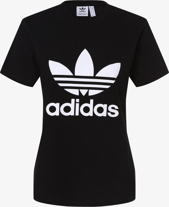 Czarny t-shirt Adidas Originals z krótkim rękawem w sportowym stylu