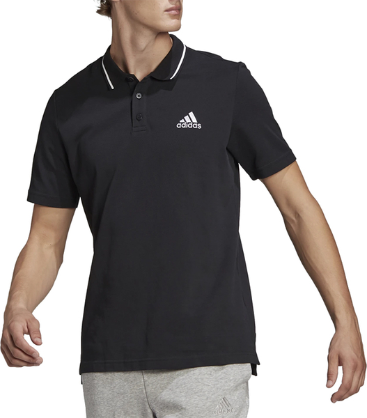 Czarny t-shirt Adidas w sportowym stylu z bawełny