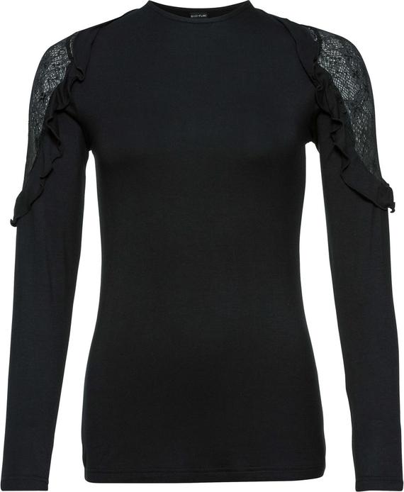 Czarny t-shirt bonprix BODYFLIRT z długim rękawem z okrągłym dekoltem