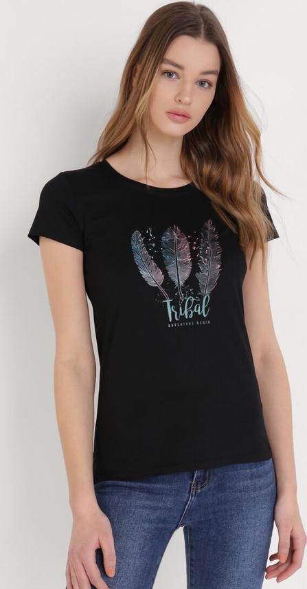 Czarny t-shirt born2be w młodzieżowym stylu z bawełny z krótkim rękawem