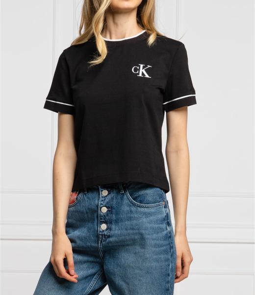 Czarny t-shirt Calvin Klein z krótkim rękawem z bawełny