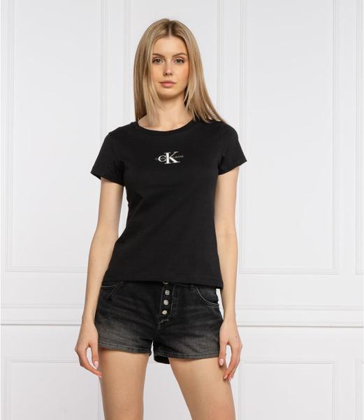 Czarny t-shirt Calvin Klein z okrągłym dekoltem
