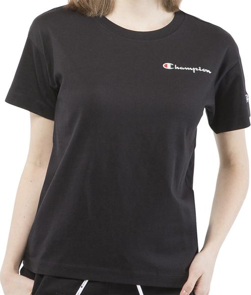Czarny t-shirt Champion z okrągłym dekoltem z bawełny z krótkim rękawem