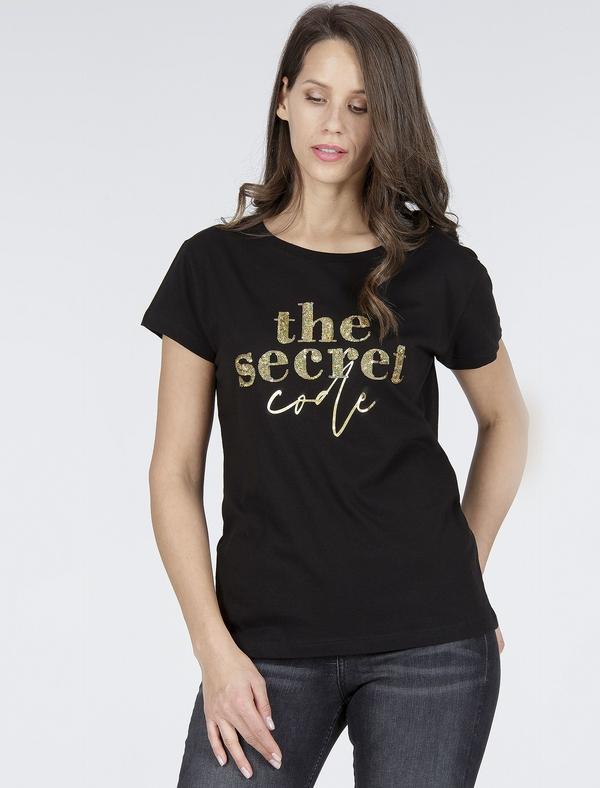 Czarny t-shirt Cross Jeans z okrągłym dekoltem z bawełny w młodzieżowym stylu