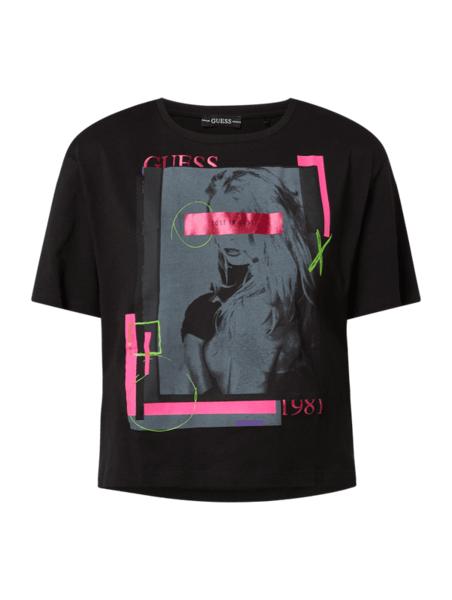 Czarny t-shirt Guess z krótkim rękawem z nadrukiem z okrągłym dekoltem