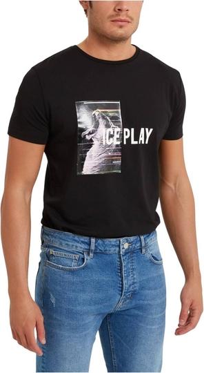 Czarny t-shirt Ice Play z dżerseju