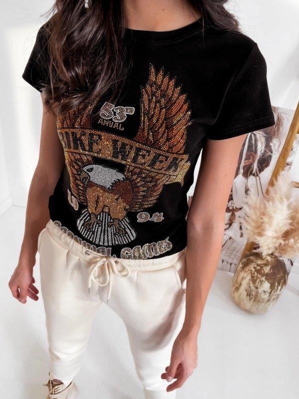 Czarny t-shirt Infinityfashion.pl z nadrukiem