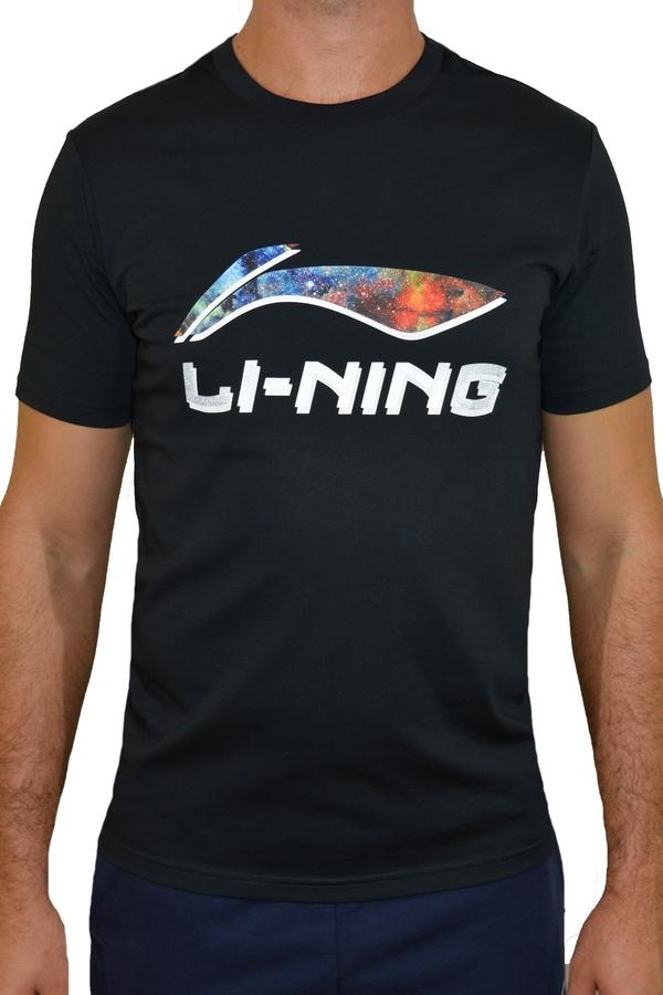 Czarny t-shirt Li-Ning z krótkim rękawem