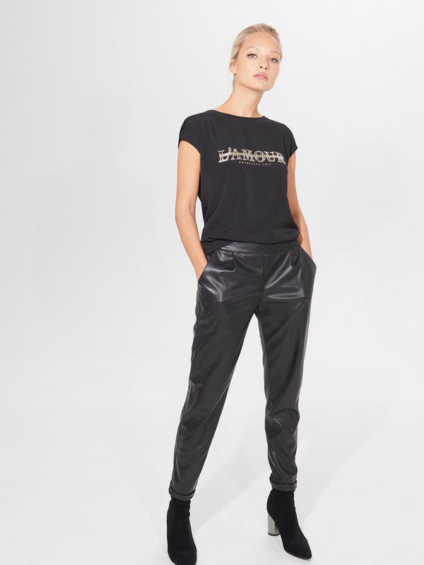 Czarny t-shirt Mohito z krótkim rękawem w stylu casual
