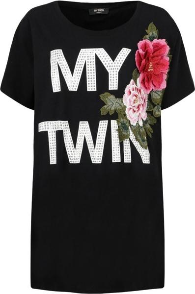 Czarny t-shirt Mytwin Twinset z okrągłym dekoltem