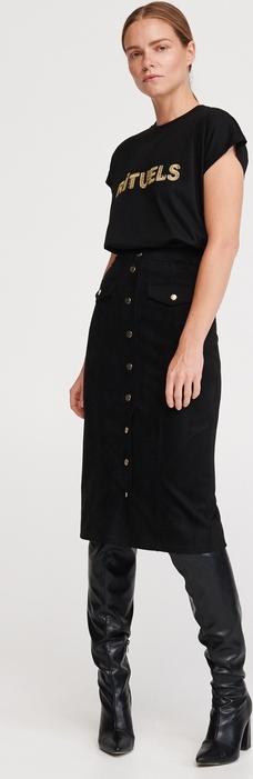 Czarny t-shirt Reserved w młodzieżowym stylu z krótkim rękawem z okrągłym dekoltem