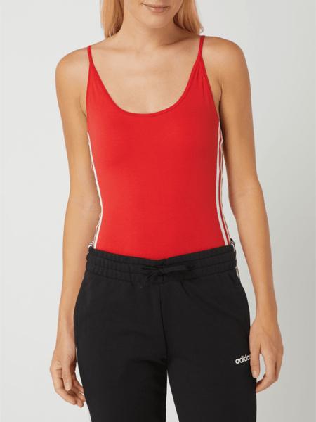 Czerwona bluzka Adidas Originals z okrągłym dekoltem z bawełny