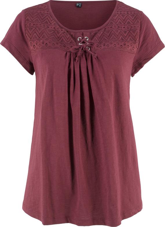 Czerwona bluzka bonprix bpc bonprix collection w stylu casual ze sznurowanym dekoltem z krótkim rękawem
