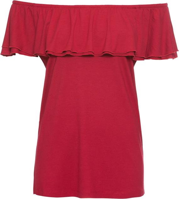 Czerwona bluzka bonprix RAINBOW z krótkim rękawem