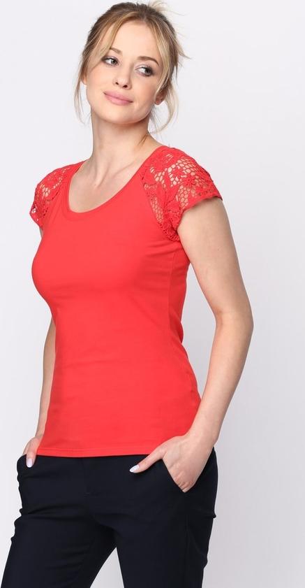 Czerwona bluzka born2be z krótkim rękawem w stylu casual