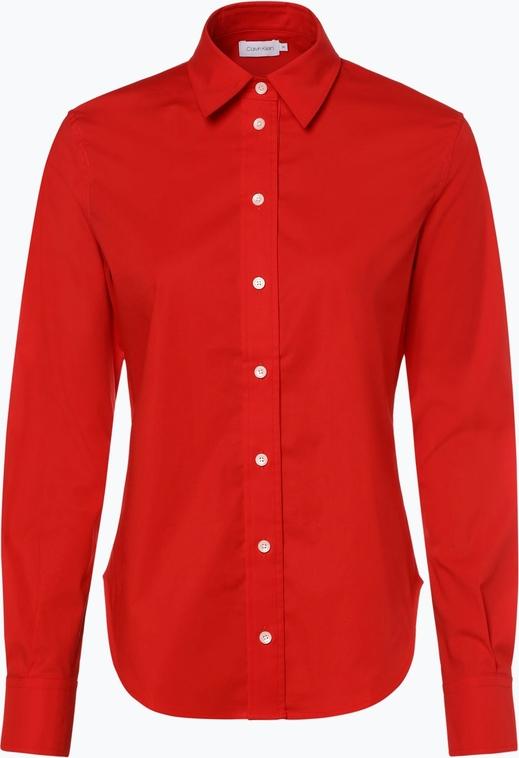 Czerwona bluzka Calvin Klein z kołnierzykiem z długim rękawem