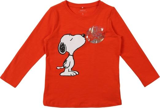 Czerwona bluzka dziecięca Name it dla dziewczynek z dżerseju