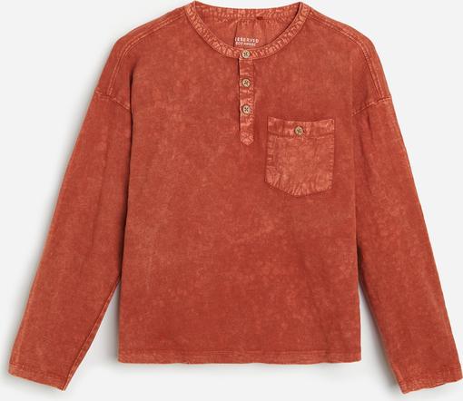 Czerwona bluzka dziecięca Reserved z bawełny dla chłopców z długim rękawem
