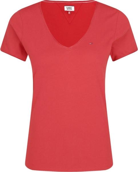 Czerwona bluzka Tommy Jeans z dżerseju z krótkim rękawem