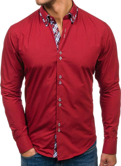 Czerwona koszula Denley z długim rękawem z bawełny z kołnierzykiem button down