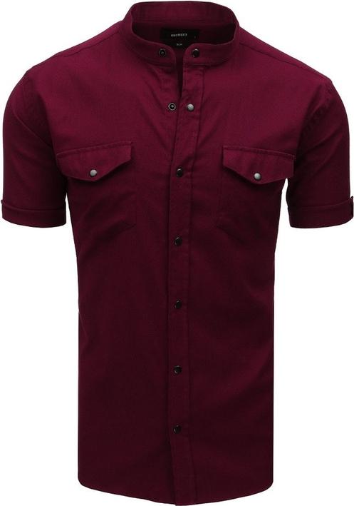 Czerwona koszula Dstreet z bawełny z krótkim rękawem