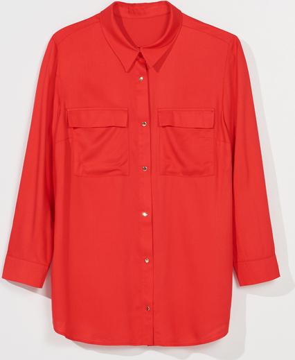 Czerwona koszula Mohito z długim rękawem z kołnierzykiem