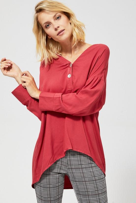 Czerwona koszula Moodo w stylu casual z długim rękawem