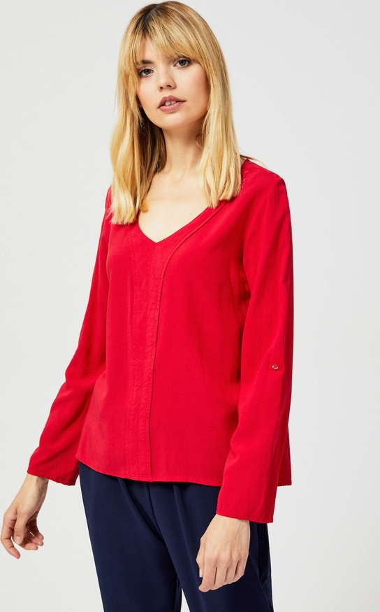 Czerwona koszula Moodo z długim rękawem