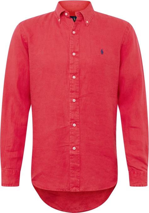 Czerwona koszula POLO RALPH LAUREN z tkaniny z kołnierzykiem button down z długim rękawem