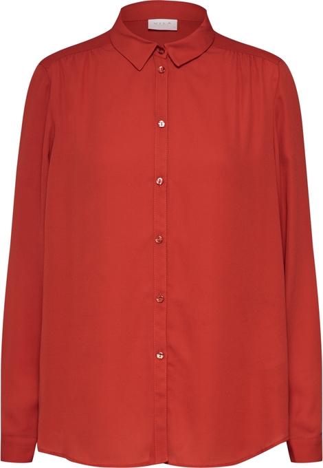 Czerwona koszula Vila z długim rękawem z kołnierzykiem