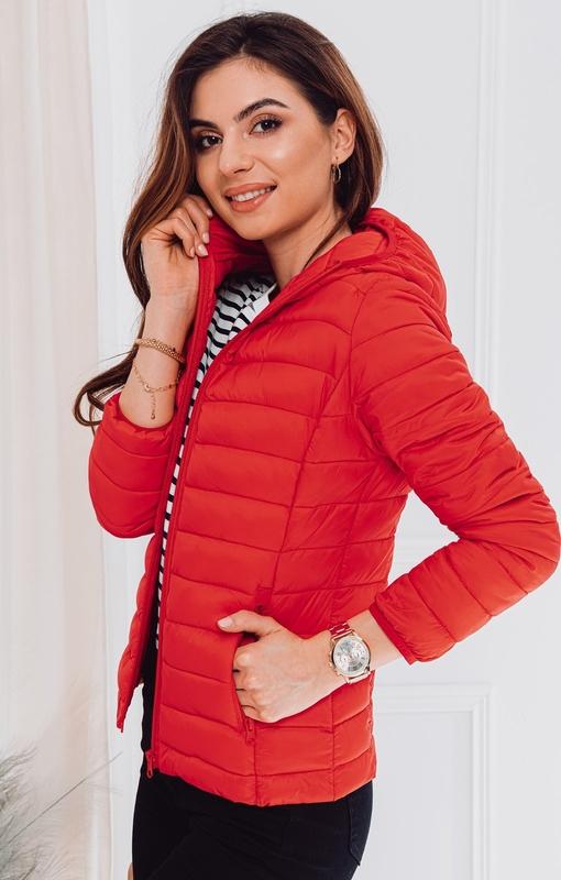 Czerwona kurtka Edoti w stylu casual krótka