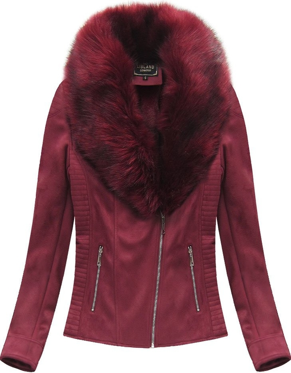 Czerwona kurtka Libland w rockowym stylu ze skóry ekologicznej