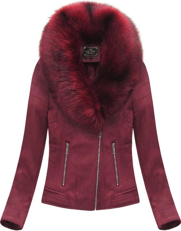 Czerwona kurtka Libland w stylu casual ze skóry ekologicznej krótka