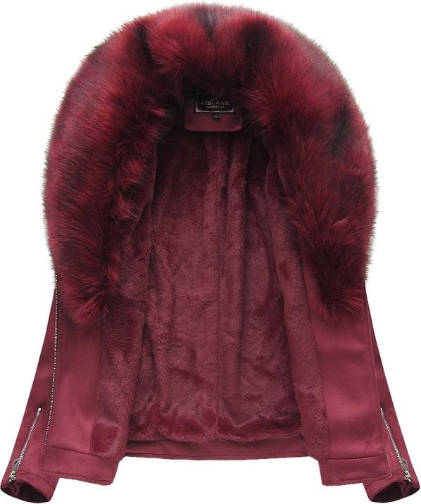 Czerwona kurtka Libland ze skóry ekologicznej w rockowym stylu
