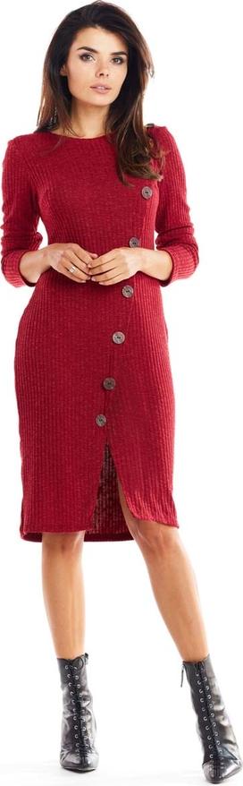Czerwona sukienka Awama midi z długim rękawem z okrągłym dekoltem