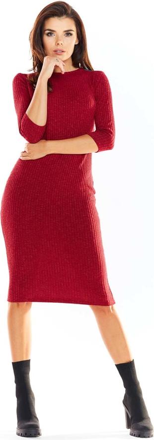Czerwona sukienka Awama ołówkowa z długim rękawem