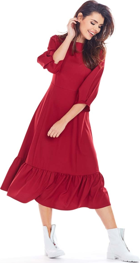 Czerwona sukienka Awama z długim rękawem midi