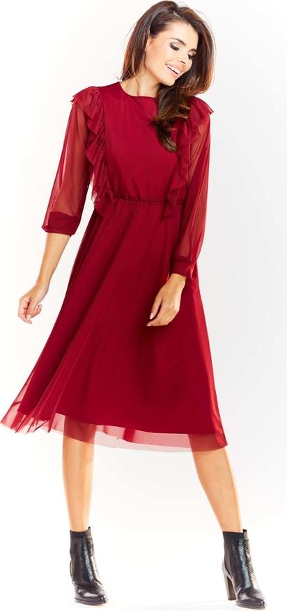 Czerwona sukienka Awama z tiulu midi z okrągłym dekoltem