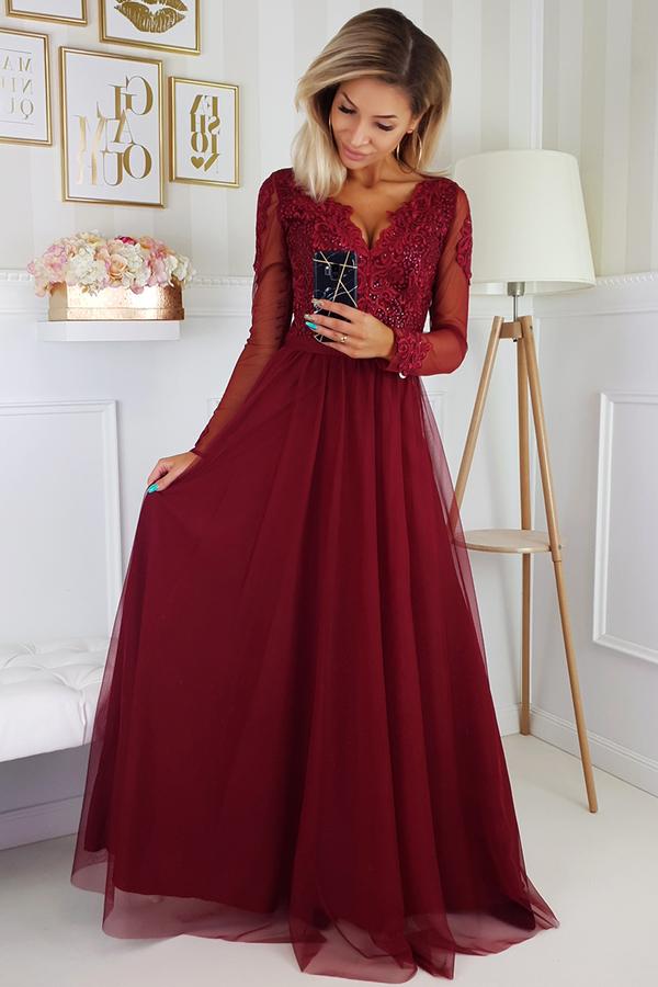 Czerwona sukienka Bicotone z dekoltem w kształcie litery v rozkloszowana z długim rękawem