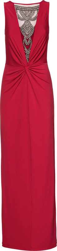 Czerwona sukienka bonprix BODYFLIRT boutique bez rękawów z dekoltem w kształcie litery v